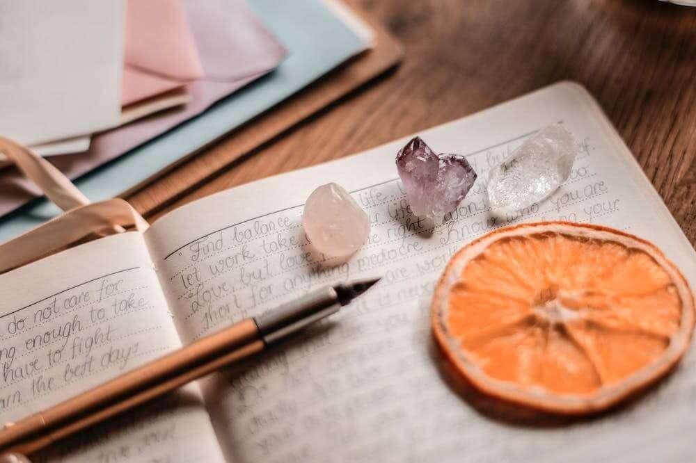 crystals, pen and orange