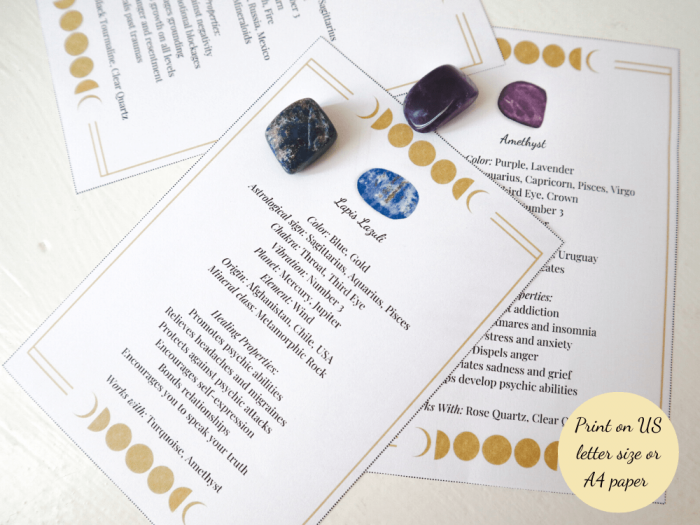 Crystal meaning cards printed