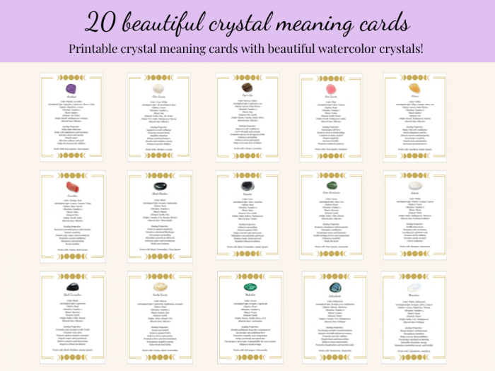 crystal meaning cards set