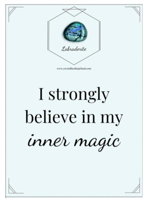 labradorite crystal affirmation card
