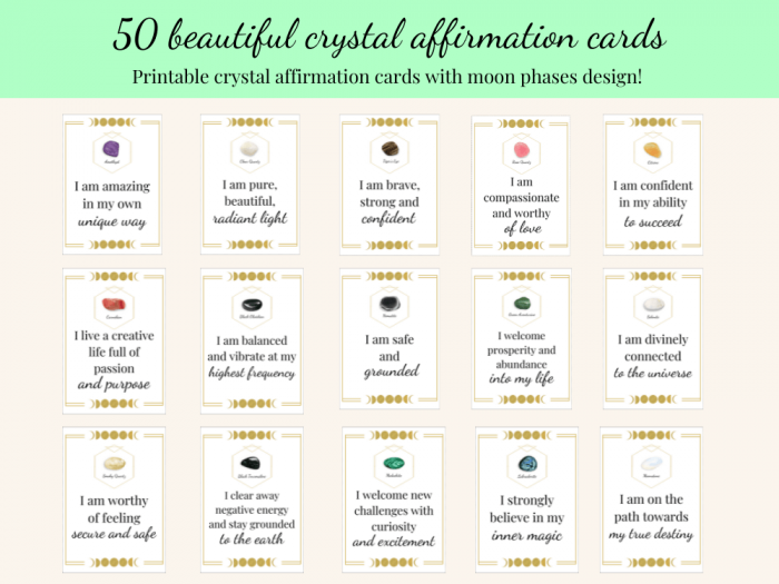 moon phases crystal affirmation cards