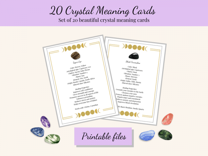 printable crystal meaning cards moon phases