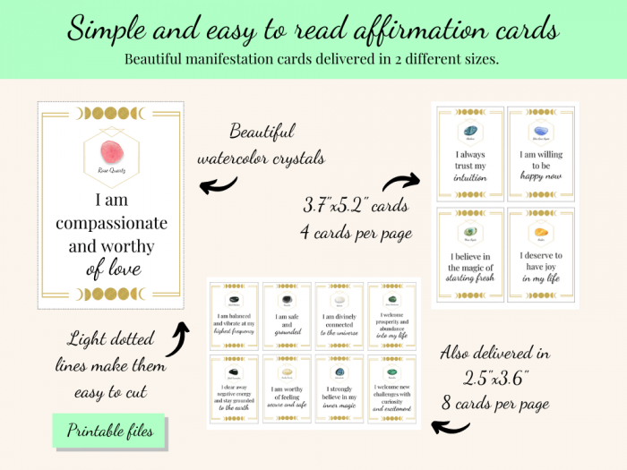 simple and easy to read crystal affirmation cards