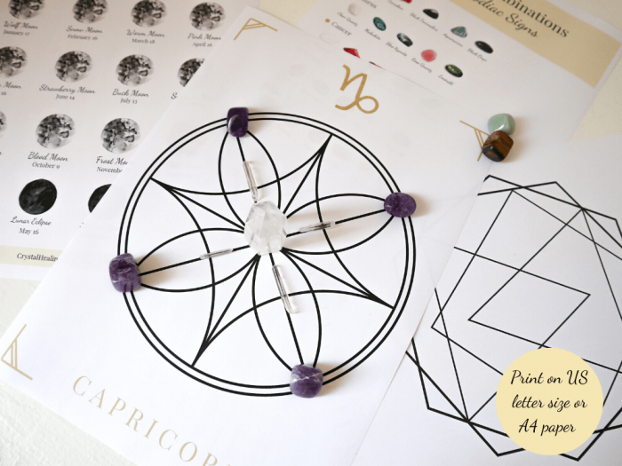 zodiac signs crystal grids printed
