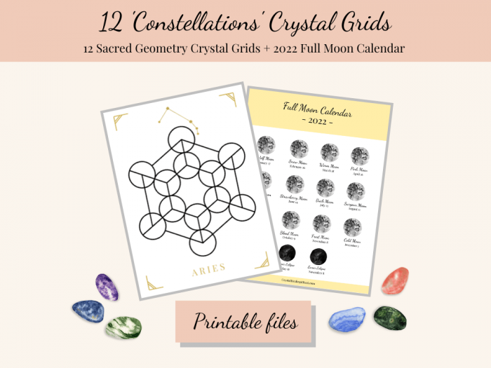 constellations printable crystal grid templates