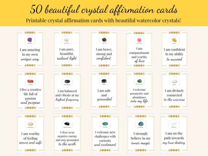 crystal affirmation cards bundle