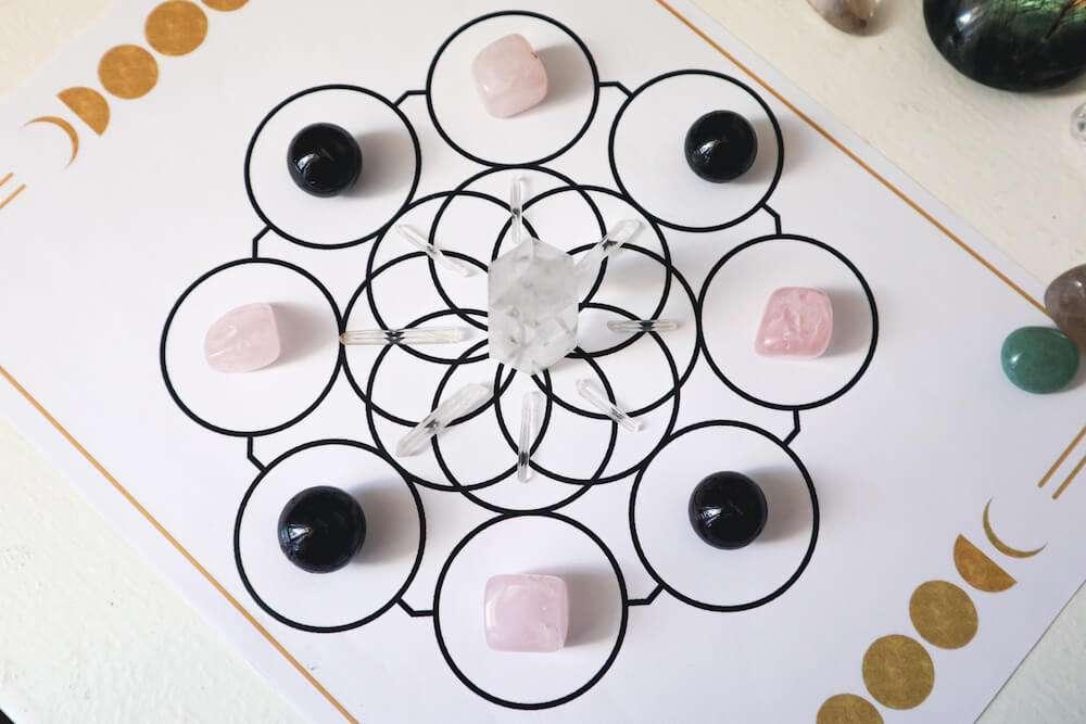crystal grid for abundance and love