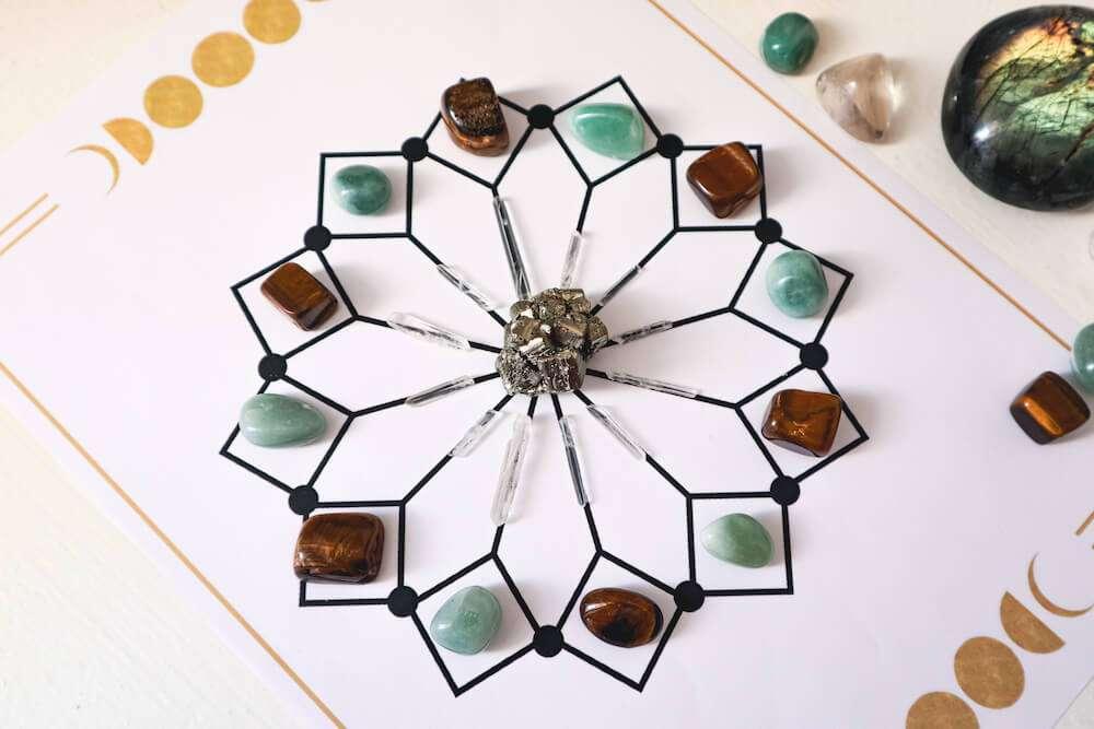 crystal grid for abundance and money