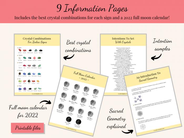 information pages zodiac bundle printable crystal grids