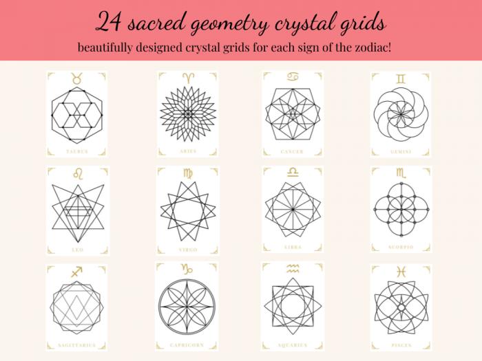 printable crystal grid templates zodiac bundle