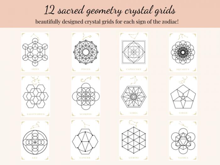 sacred geometry constellations printable crystal grid templates