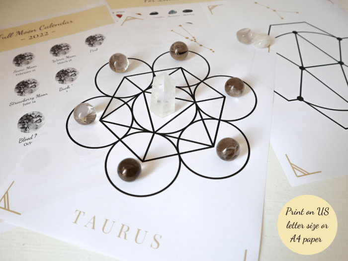 zodiac constellations crystal grids printed