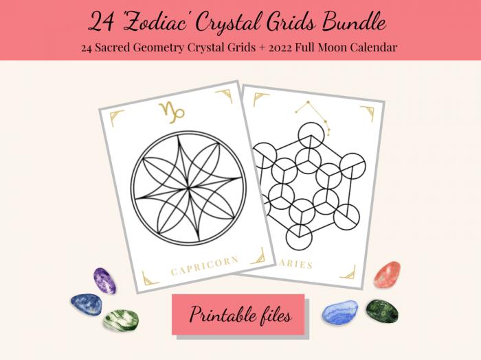 zodiac crystal grid templates bundle